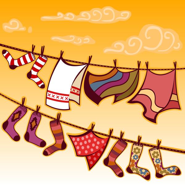 hanging towels socks vector