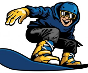 happy man playing snowboard vector illustration