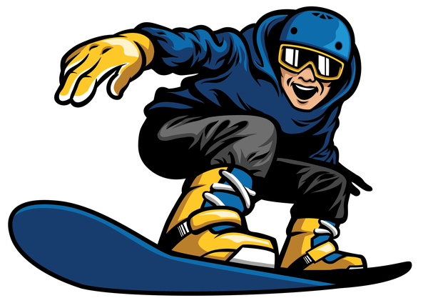 Happy Man Playing Snowboard Vector Illustration Free Download
