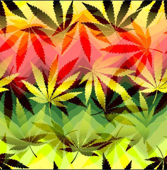 hemp leaves with modern background vector 01