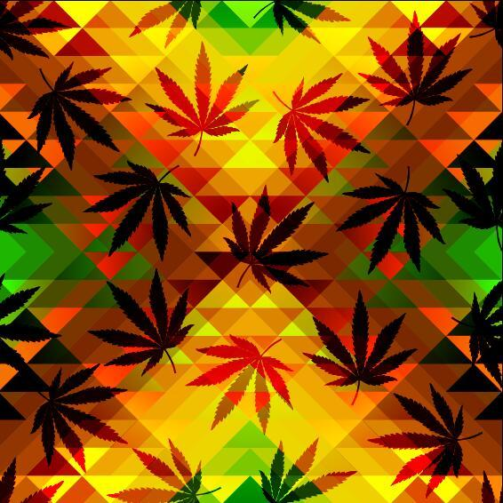 hemp leaves with modern background vector 02