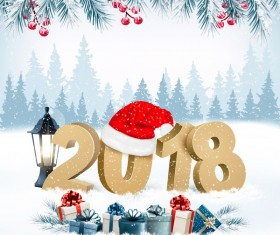 holiday background with presents and new year 2018 vector