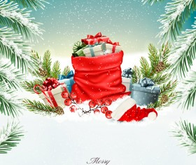 holiday christmas background with red sack fulll gift boxes vector