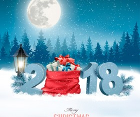 holiday christmas background with sack full of gift boxes and 2018 vector