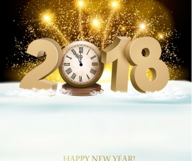 holiday new year background with gold 2018 and firework vector