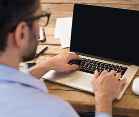 man using tablet computer Stock Photo