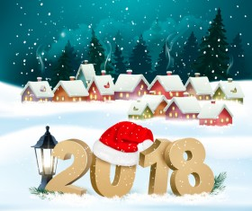 new year holiday background with village and 2018 vector
