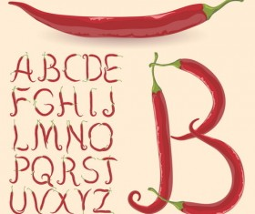 pepper alphabet design vector