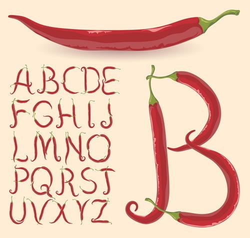 pepper alphabet design vector