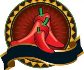 pepper labels design vector