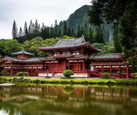 temple surrounded by trees Stock Photo