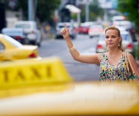 woman who plays Taxi Stock Photo