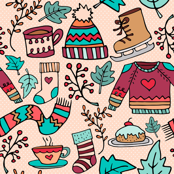 xmas cute pattern seamless vector free download