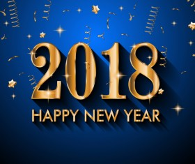 2018 New Year golden text with blue background vector