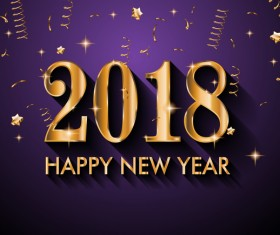 2018 New Year golden text with purple background vector