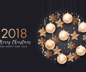 2018 New year with christmas creative design vector 01