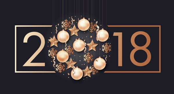 2018 New year with christmas creative design vector 02