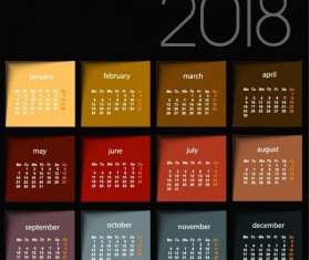 2018 calendar black template vector