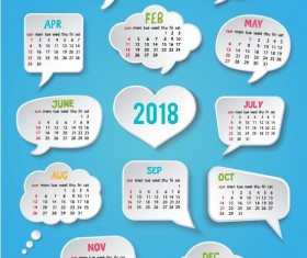 2018 calendar template with speech bubbles vector