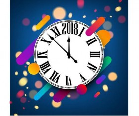 2018 clock with blue new year background vector