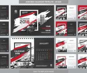 2018 desk calendar template set vector 01