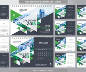 018 desk calendar template set vector 02