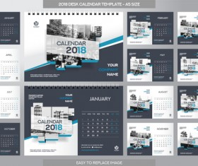 2018 desk calendar template set vector 03