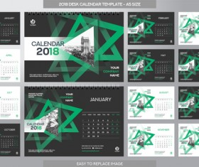 2018 desk calendar template set vector 04