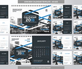 2018 desk calendar template set vector 05