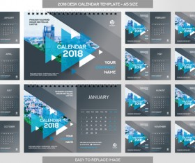 2018 desk calendar template set vector 07