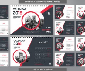 2018 desk calendar template set vector 08