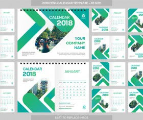 2018 desk calendar template set vector 09