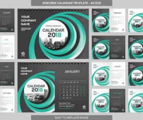 2018 desk calendar template set vector 10