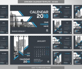 2018 desk calendar template set vector 11