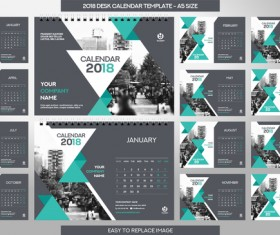 2018 desk calendar template set vector 12