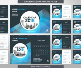 2018 desk calendar template set vector 13