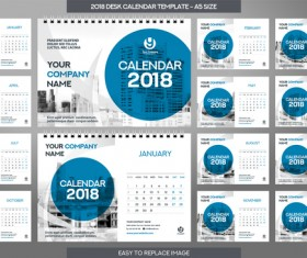 2018 desk calendar template set vector 14