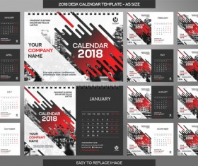 2018 desk calendar template set vector 15