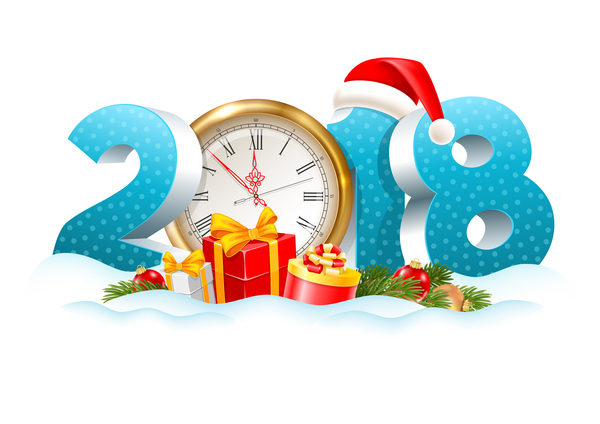 2018 digits new year background with clock vector