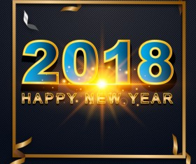 2018 happy new year frame with paper ribbon vector
