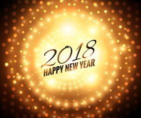 2018 happy new year with light dot background vector