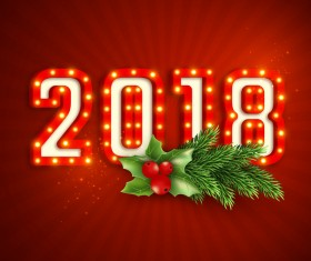 2018 neon text with red new year background vector