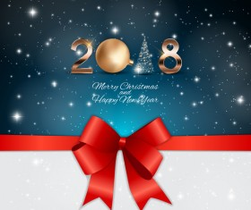 2018 new year and christmas card with red bows vector material