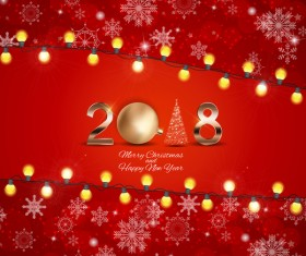 2018 new year and christmas red background with snowflake light bulb vector