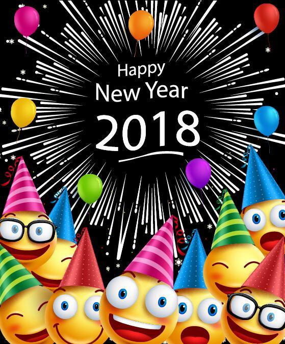 2018 new year background with cartoon character vector