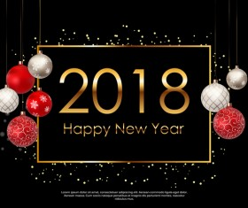 2018 new year background with christmas balloon vector