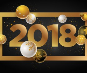 2018 new year background with christmas baubles vector 01