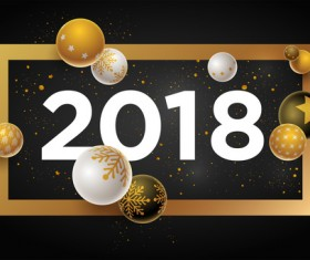 2018 new year background with christmas baubles vector 02