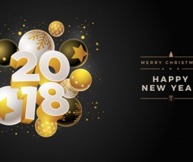 2018 new year background with christmas baubles vector 03
