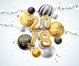 2018 new year background with decor balls and light bulb vector